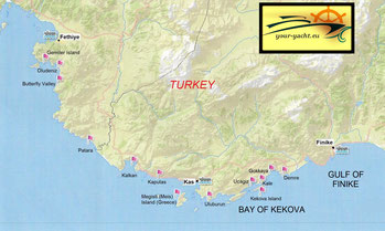 your-yacht.eu map of fethiye kekova cabin charter