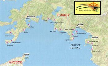 your-yacht.eu map of marmaris datca hisaronu cabin charter