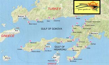 your-yacht.eu map of bodrum gulf of gokova cabin charter