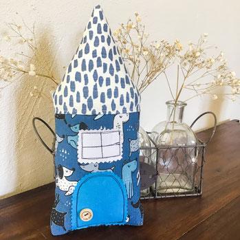 coussin decoratif pour enfant bleu blanc