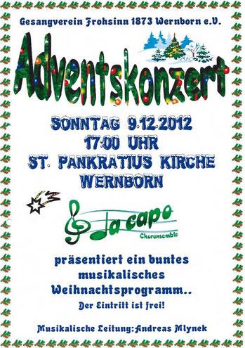 Plakat für das Adventskonzert in Wernborn 2012