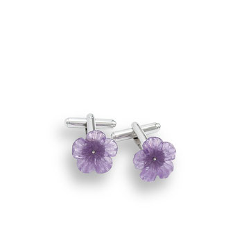 Damen Manschettenknöpfe Silber Amethyst Blüten