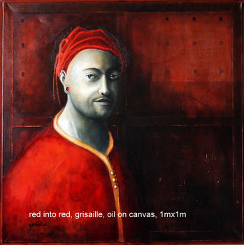 Red into red . Olieverf op canvas. Grisaille. 1mx1m. Prijs; 550 euro inc btw