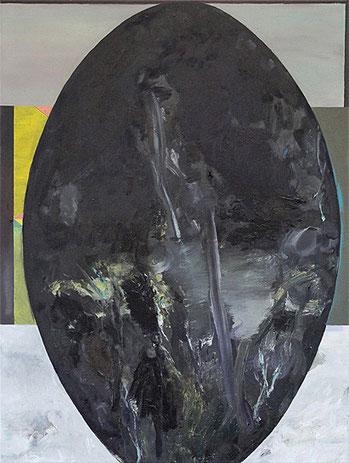 Martin Mohr  Wolkenkuckucksei  Acryl, Lack und Öl auf Baumwolle   120 x 90 cm