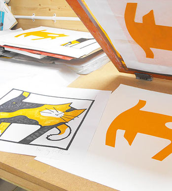 Screen prints printed at printmaking workshop by Lucy Gell