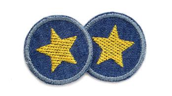 Bild: Jeansflicken Hosenflicken Stern senf, Mini Sternaufnäher zum aufbügeln