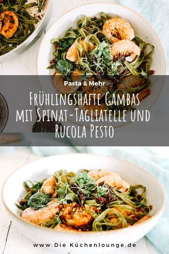 Frühlingshafte Gambas mit Spinat-Tagliatelle und Rucola Pesto