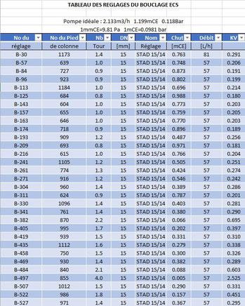 Calcul de l'équilibrage du réseau de bouclage ECS avec SANIWIN