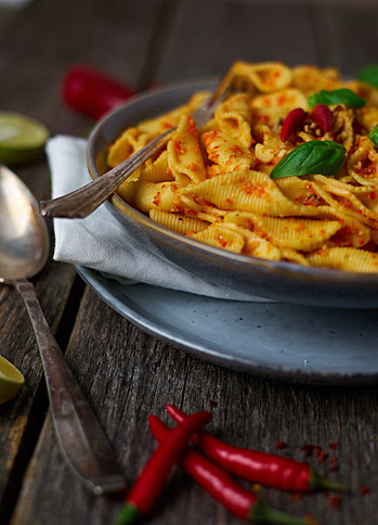 red Pesto roasted rep pepper - rote Pesto mit Pasta aus gerösteten roten Paprika