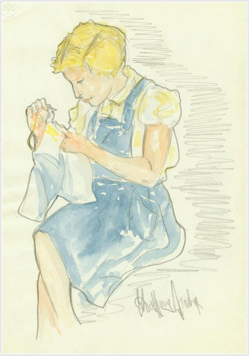 Bild Aquarell und Blei: Schwester bei Handarbeit