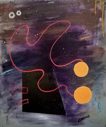 """Ho sempre saputo dell'esistenza di altri mondi, ecco che in quest'opera che emana vibrazioni """"paradisiache"""", il mio istinto mette in evidenza, con dei bei colori,  l'Universo infinito e 2 mondi (simbolicamente) paralleli  e comunicanti. L'Universo sembrer"""