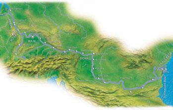 Karte Donau-Kreuzfahrt
