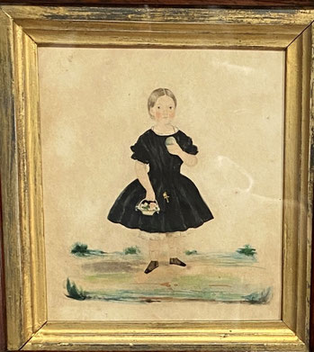 Naive Portrait Miniature of a Girl in a Black Dress