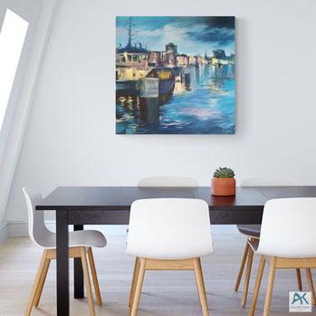 Von der Klappbrücke, Acryl auf Leinwand, 2020, 100x100 cm