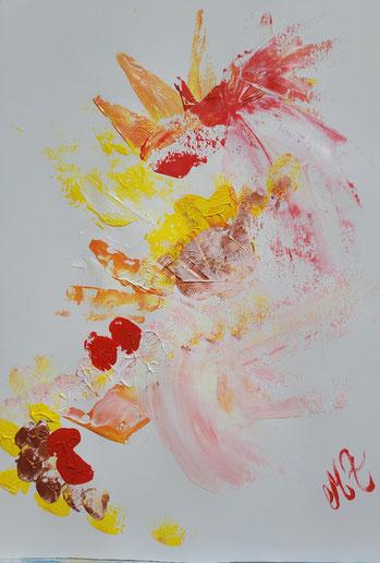 Eléments feu, terre, metal. Création acrylique sur papier  A3. Prix 90€