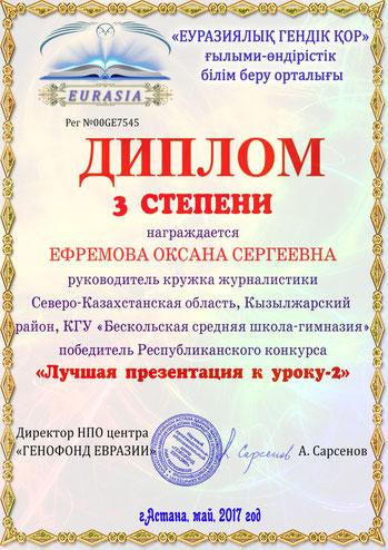 Оксана Ефремова, БСШГ, кружок журналистики, республиканский конкурс, презентация