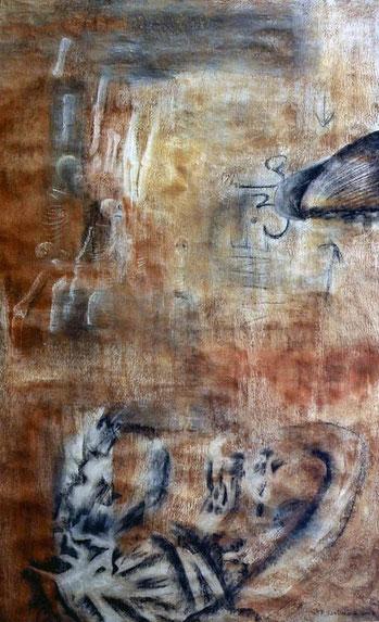 Huesos I 2003 pastel 160X99 cm