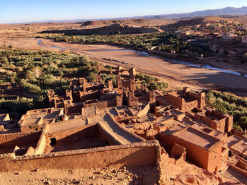Aït Benhaddou is a fortified village along the former caravan route between the Sahara and Marrakech