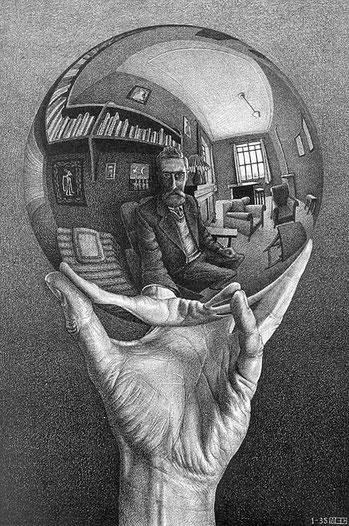 """M.C. Escher, """"La sfera"""" (1921)"""