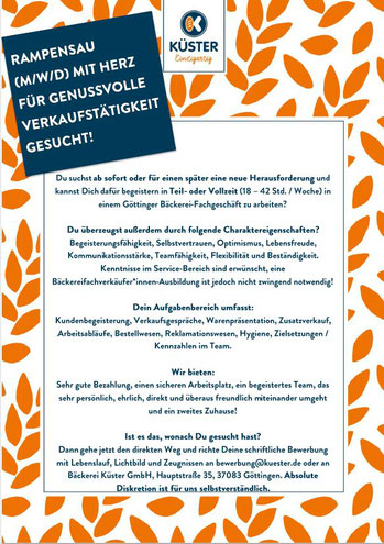 Bäckerei Küster Göttingen Stellenanzeige Job