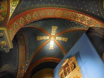 Chapelle néogothique du Musée de Picardie, détail de la voûte