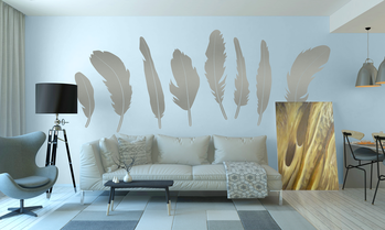 8 feathers Wall art stickers boho chic style
