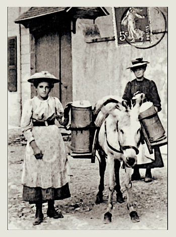 Jeunes filles du plateau portant le lait à la fruitière