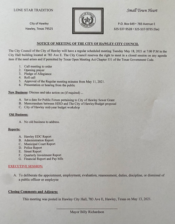 May 18, 2021 Special Meeting Agenda