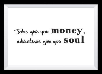Typografie Poster, Typografie Print, Reisen, money or soul