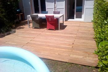 AUvergnemobois réalise toux vos aménagements exteieurs en bois: terrasse bois, terrasse suspendue, bardage
