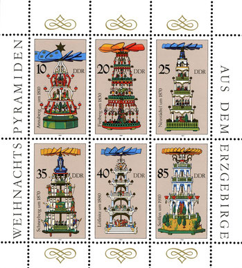 Historische Pyramiden auf DDR-Briefmarken