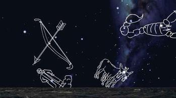 Cielo australe verso il 1500 - Il cielo australe visto a Malindi alla fine della notte del 24 al 25 Aprile 1497.