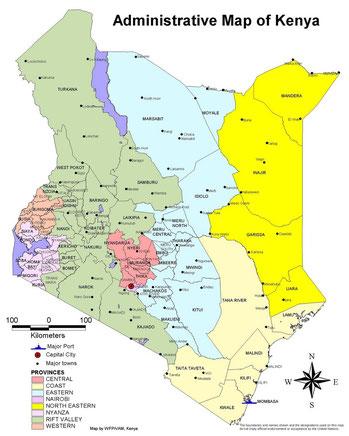 Kenya province, distretti, città - Mappa amministrativa del Kenya