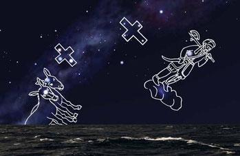 Cielo australe verso il 1500 - Il cielo australe visto a Malindi all'inizio della notte del 24 Aprile 1497.