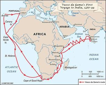 Il primo viaggio di Vasco da Gama.