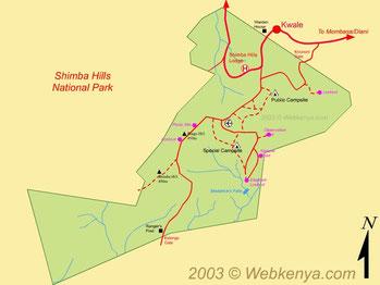 Shimba Hills National Reserve - Mappa