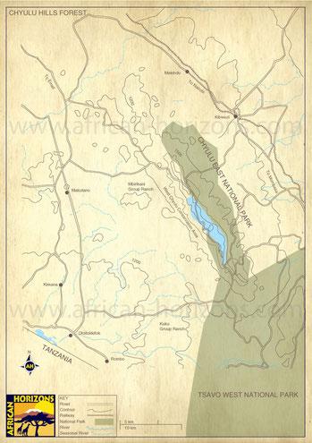 Mappa Parco Nazionale Chyulu Hills