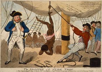 Rappresentazione di tortura ai danni di una schiava africana da parte del capitano John Kimber.