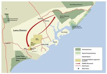 Riserva Nazionale Parco Marino Kiunga - Mappa