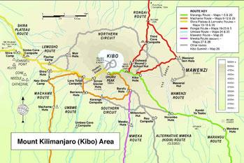 Map Trekking Kilimanjaro National Park