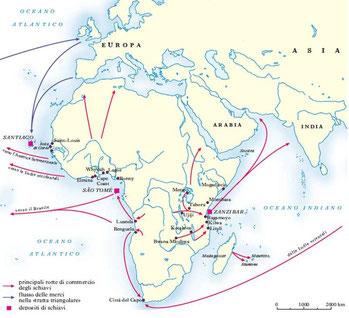 Le principali rotte di commercio degli schiavi africani