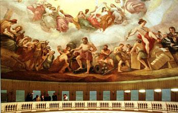 Nell'immagine l'Apoteosi di George Washington di Costantino Brumidi (Mike Theiler - Reuters)