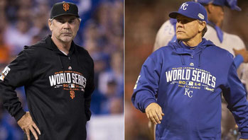 Nella foto Bruce Bochy (San Francisco)  e Ned Yost (Kansas City)