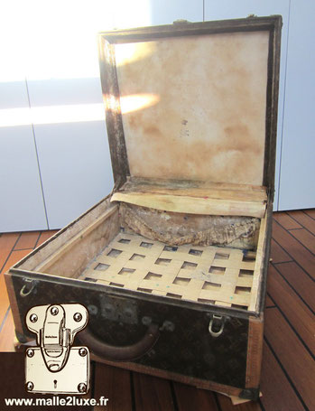 Restoration of an old Louis Vuitton trunk Paris 1930 hat suitcase very rare collector's collection restoration