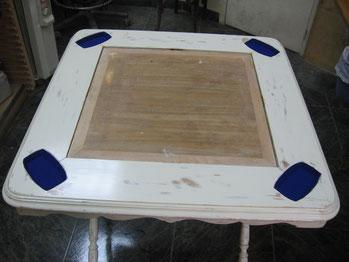 Restauración mesa de juego en madera de haya