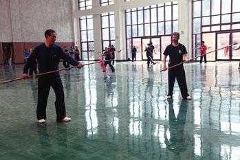 lance du tai-chi style Chen à Chenjiagou avec Me Wang Xian