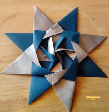 Origami Stern - blau - silber