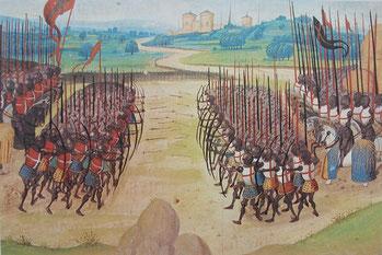Azincourt. (Source : H. W. Koch: Illustrierte Geschichte der Kriegszüge im Mittelalter, S. 133, Bechtermünz Verlag, ISBN 3-8289-0321-5 -Wikimedia)