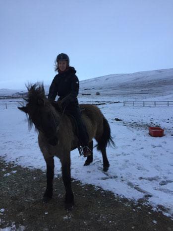 Judith Bernhardt reitet auf einem Island-Pferd