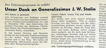 """Sachsenwerk Radeberg 1951: Betriebszeitung  """"Der Motor"""" vom 8. Dez. 1951 zur Verpflichtung, bis zu Stalins 73. Geburtstag am 21.12.1951 40.000 Fernsehgeräte herzustellen. Die Radeberger Fernsehgeräte-Fertigung hieß damals betriebsintern """"Televisorfabrik"""""""